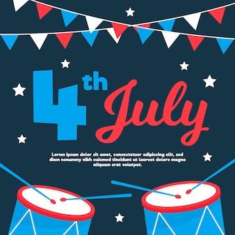 Diseño plano celebración del 4 de julio