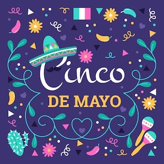 Diseño plano celebración cinco de mayo