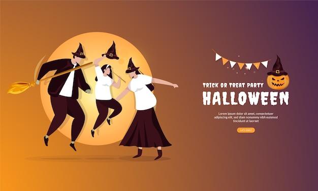Diseño plano de la celebración del concepto de fiesta de halloween