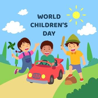 Diseño plano de celebración del día del niño.