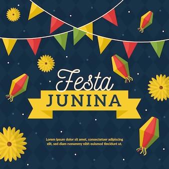 Diseño plano de celebración de fiesta de junio
