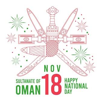 Diseño plano celebrando el día de omán