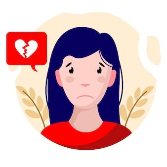 Diseño plano chica triste personaje ilustración vectorial