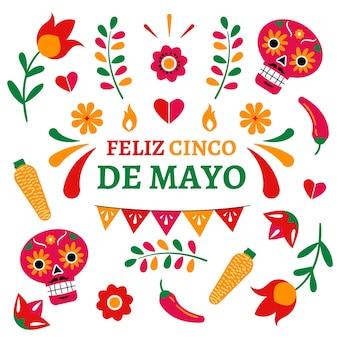 Diseño plano cinco de mayo y calaveras florales