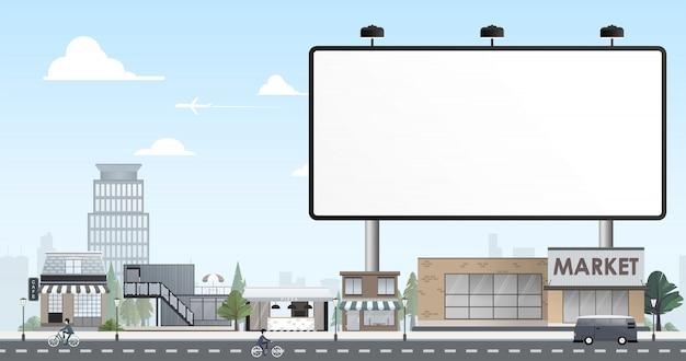 Diseño plano de ciudad con cartelera en blanco.