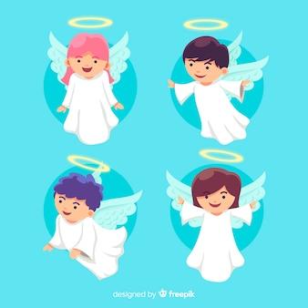 Diseño plano colección angel navidad