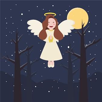 Diseño plano colección ángel de navidad