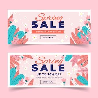 Diseño plano colección de banner de venta de primavera diseño