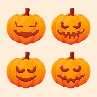 Diseño plano de colección de calabaza de halloween
