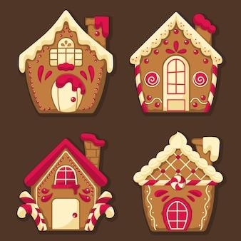 Diseño plano de la colección de la casa de pan de jengibre