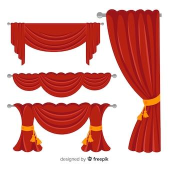 Diseño plano de la colección de cortinas rojas.