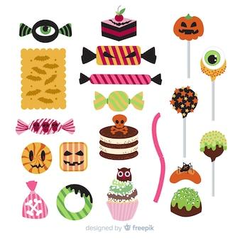 Diseño plano de colección de dulces de halloween