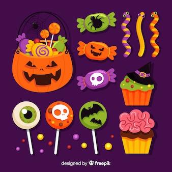 Diseño plano de la colección de dulces de halloween
