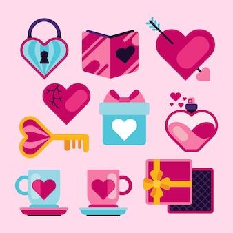 Diseño plano de la colección de elementos del día de san valentín