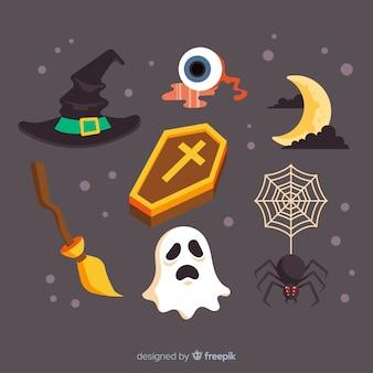 Diseño plano de la colección de elementos de halloween