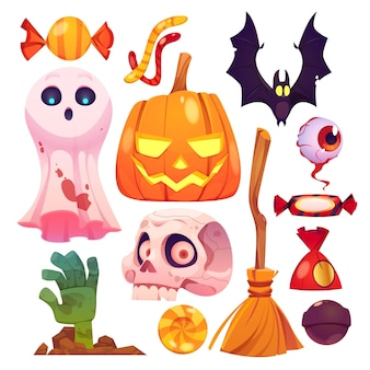 Diseño plano de colección de elementos de halloween