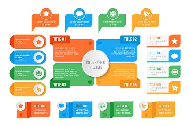 Diseño plano de colección de elementos de infografía
