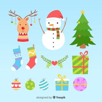Diseño plano de la colección de elementos navideños.