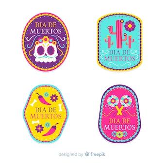 Diseño plano de la colección de etiquetas dia de muertos