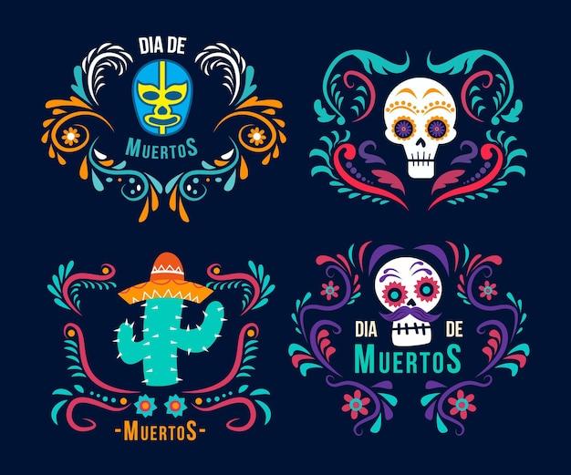 Diseño plano colección de etiquetas del día de los muertos.