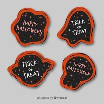 Diseño plano de la colección de etiquetas de halloween