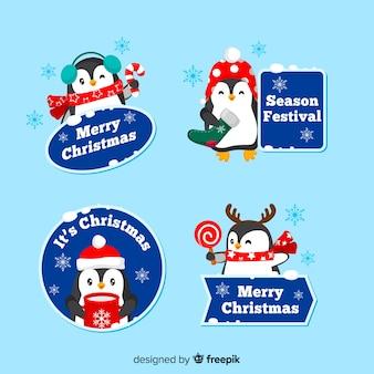 Diseño plano de colección de etiquetas navideñas