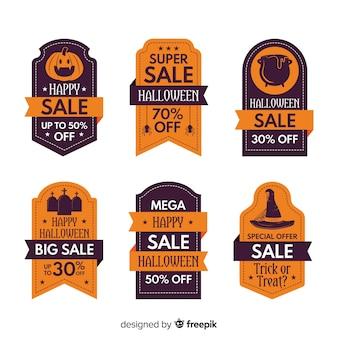 Diseño plano de la colección de etiquetas de venta de halloween