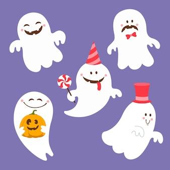 Diseño plano de colección fantasma de halloween