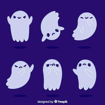 Diseño plano de la colección de fantasmas infantiles de halloween