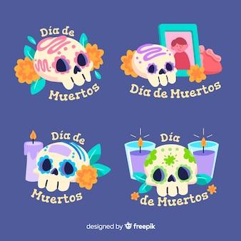 Diseño plano de la colección de insignias de dia de muertos
