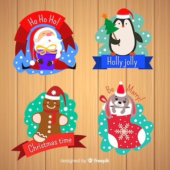 Diseño plano de colección de insignias de navidad