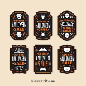 Diseño plano de la colección de insignias de venta de hallowen