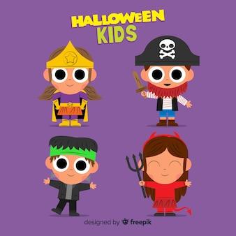 Diseño plano de la colección kid de hallowen
