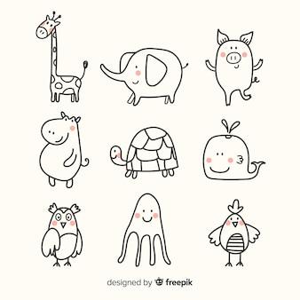 Diseño plano de colección linda animal