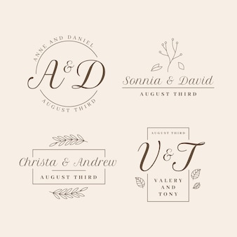 Diseño plano de la colección de logotipos de bodas