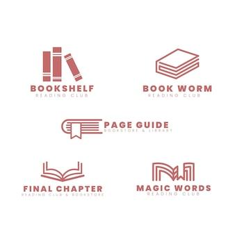 Diseño plano de colección de logotipos de libros