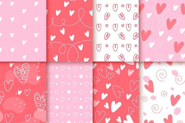 Diseño plano con colección de patrones del día de san valentín