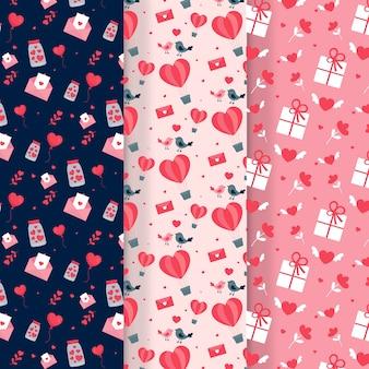 Diseño plano de la colección de patrones del día de san valentín
