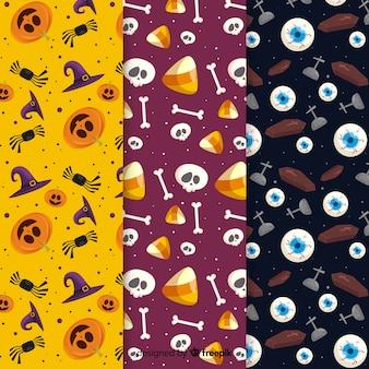 Diseño plano de colección de patrones de elementos de halloween