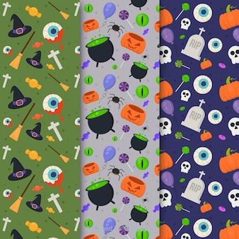 Diseño plano de la colección de patrones de halloween