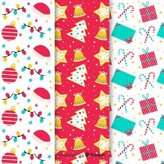 Diseño plano de colección de patrones de navidad