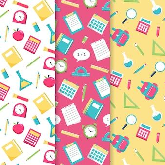 Diseño plano de colección de patrones de regreso a la escuela