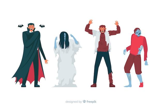 Diseño plano de colección de personajes de halloween