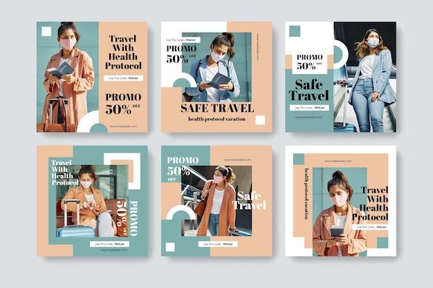 Diseño plano de colección de publicaciones de instagram de viajes