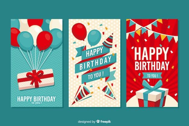 Diseño plano de la colección de tarjetas de cumpleaños