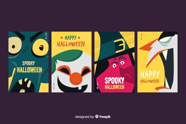 Diseño plano de colección de tarjetas de halloween de miedo