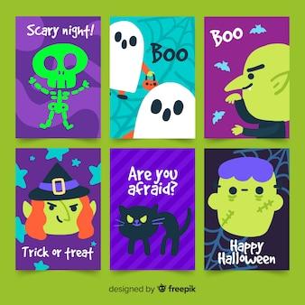 Diseño plano de la colección de tarjetas de halloween