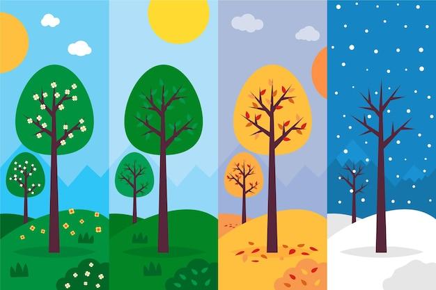 Diseño plano de colección de temporadas dibujadas a mano