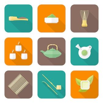 Diseño plano color japón ceremonia del té equipo iconos colección herramientas conjunto