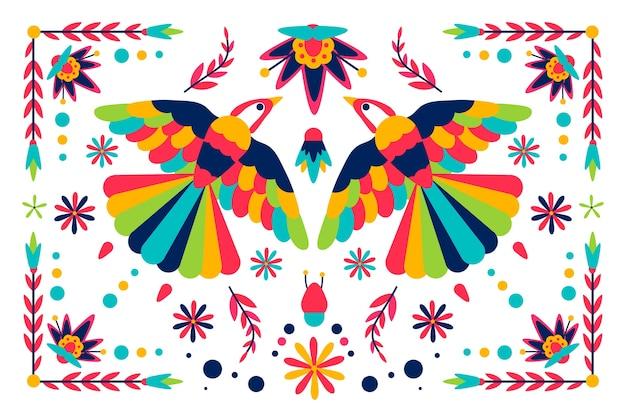 Diseño plano colorido concepto mexicano para fondo de pantalla